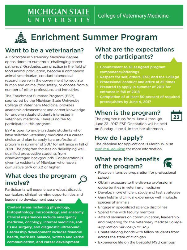 Michigan State University College of Veterinary Medicine Enrichment ...